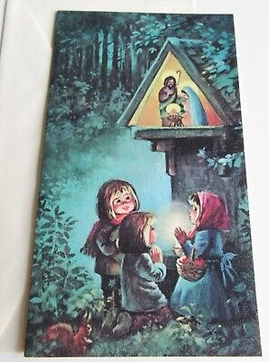 Vintage Christmas Card Norcross Kids at Creche in Woods with Squirrel Unused