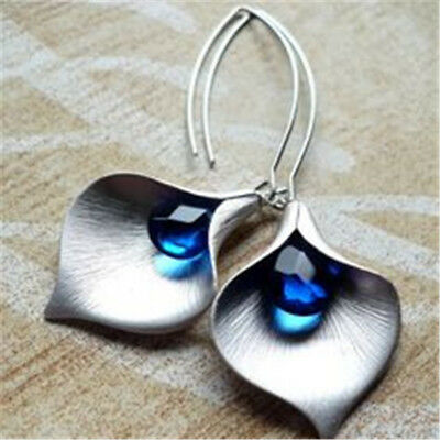 Chic Women Jewelry 925 Silver Blue Sapphire Ear Stud Hoop Dangle Bridal Earrings