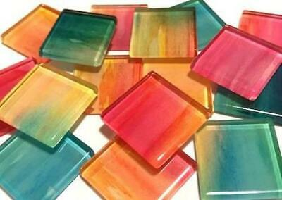 Handmade Watercolour Glass Mosaic Tiles 2.5cm Pattern 4 - Craft Art Supplies