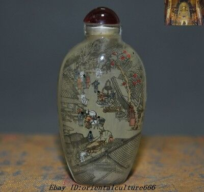 China glass glaze Inside painting Qingming river map People Figure Snuff Bottle