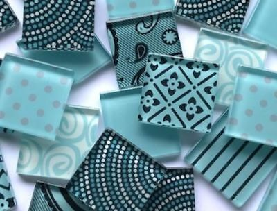 Aqua Blue Handmade Colour Mix Glass Mosaic Tiles 2.5cm - Art Craft Supplies
