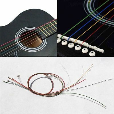 One Set 6pcs Acoustic Guitar Strings Rainbow Color Stainless Steel