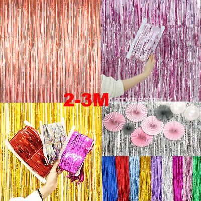 2M-3M Foil Fringe Tinsel Shimmer Curtain Door Wedding Birthday Hen Party Decor