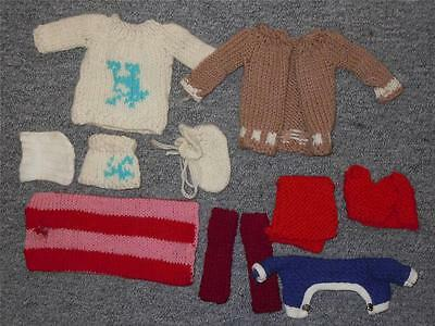 10 Vintage Barbie Skipper/Scooter Accessories Lot Wool knitted Clothing Sweaters