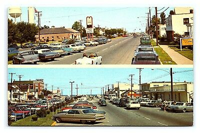 Vintage Postcard Street View Old Cars Rehoboth Avenue Beach Delaware E12