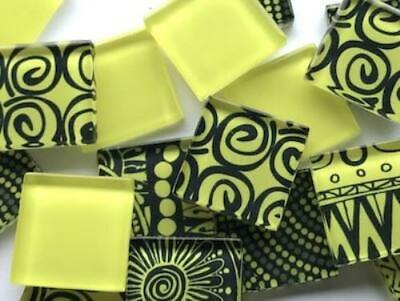 Bright Yellow Handmade Colour Mix Glass Mosaic Tiles 2.5cm - Art Craft Supplies