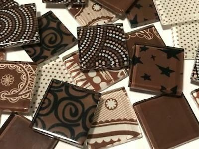 Brown Handmade Colour Mix Glass Mosaic Tiles 2.5cm - Art Craft Supplies