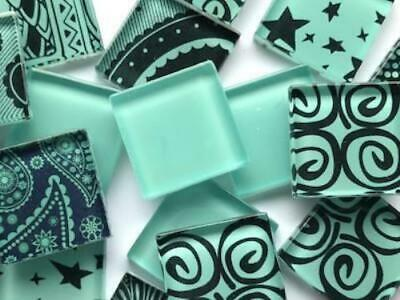 Teal Handmade Colour Mix Glass Mosaic Tiles 2.5cm - Art Craft Supplies