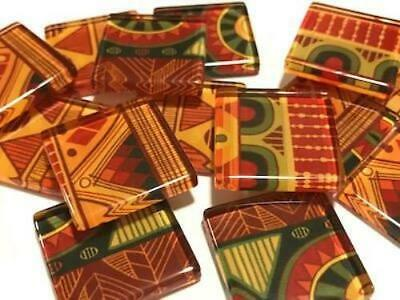 Tribal Inspired Glass Mosaic Tiles 2.5cm Pattern 2 - Art Craft Supplies