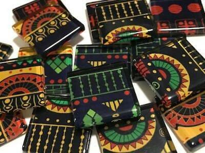 Tribal Inspired Glass Mosaic Tiles 2.5cm Pattern 3 - Art Craft Supplies
