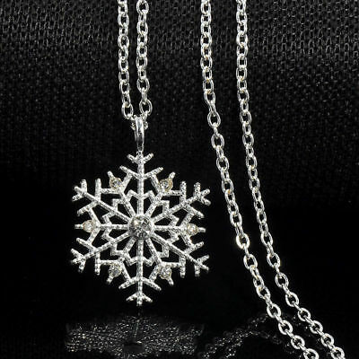 Fashion Charm Silver Frozen Snowflake Crystal Necklace Pendant Chain Gift