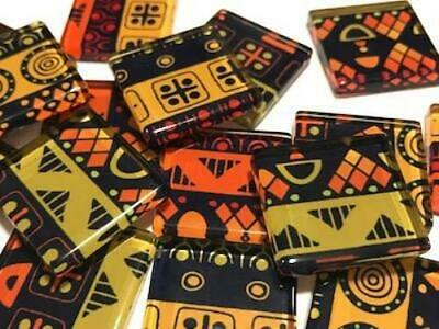 Tribal Inspired Glass Mosaic Tiles 2.5cm Pattern 9 - Art Craft Supplies