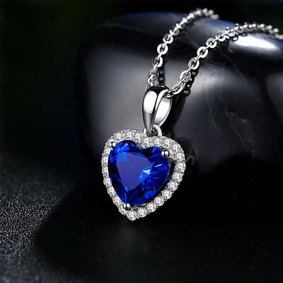 Titanic Heart Of The Ocean Sapphire Blue Crystal Movie Necklace Pendant Gift