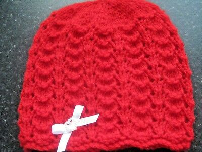 Lovely Hand Knitted Baby Beanies Hat In Red Size New Born