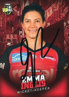 ✺Signed✺ 2017 2018 MELBOURNE RENEGADES Cricket Card EMMA INGLIS Big Bash League