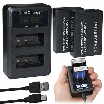 2XBattery +LCD Dual LC-E17 Charger for Canon LP-E17 EOS Kiss X8i X9i 8000D 9000D