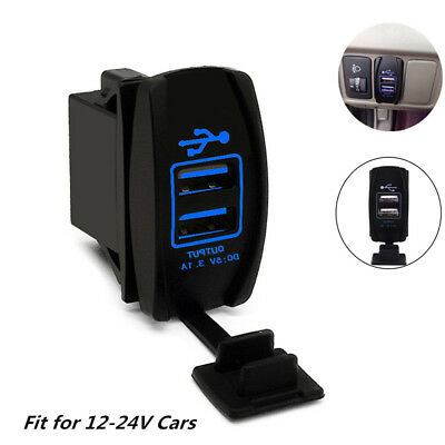 1x Dual LED USB Car Auto Power Supply Charger Port Socket Waterproof 12-24V 3.1A