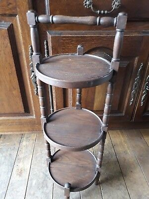 French Vintage Freestanding Wooden 3 Tier Mahogany  Cake Stand For Sale