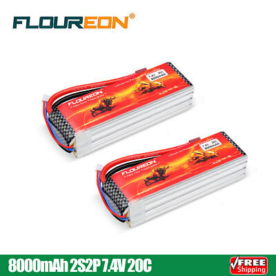 2x FLOUREON 3S2P 11.1V 8000mAh 40C Li-Polymer Battery Pack RC Lipo Deans Plug US