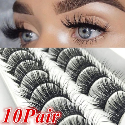 10 Pairs 3D Soft Mink Hair False Eyelashes Wispy Fluffy Long Natural Eye Lashes