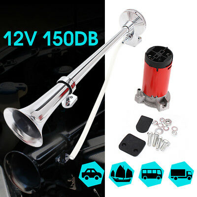 150DB 12V Super Loud Air Horn Compressor Single Trumpet Lorry Truck Boat Train
