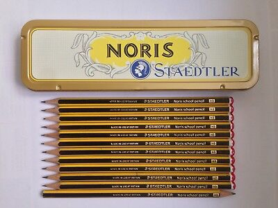 "12 Vintage Staedtler Pencils: ""noris School Pencil Hb"", + Noris Tin - All Unused"