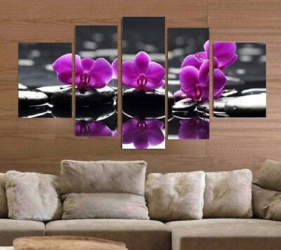 5 Pieces Canvas Art Modern Canvas Painting Pink Orchid Home Decor Canvas Prints