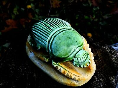 Egyptian Vintage Malachite Green Glaze Statue Hand Carved Scarab Stone Sculpture