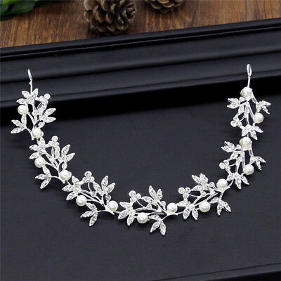 Silver Bendable Pearl Crystal Bridal Hair Vine Wedding Headband LJ