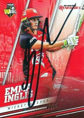 ✺Signed✺ 2018 2019 MELBOURNE RENEGADES Cricket Card EMMA INGLIS Big Bash League