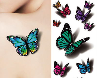 Colourful Butterfly 3D x 6 Waterproof Temporary Fake Tattoo Sticker Body Art UK