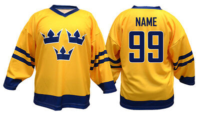 Team Sweden Yellow Ice Hockey Jersey Custom Name and Number