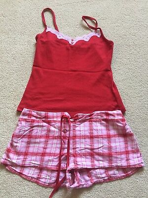 c0e06d0ec1 LA SENZA LADIES Size 10 Red Pink Vest Top and Shorts Pyjamas Set ...