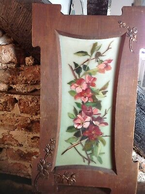 Decorative Painted Glass Picture Floral Art French 1900 Fabulous Wow Wow Wow