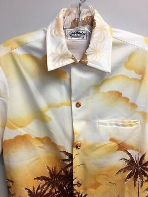 c3c7172d Malihini Hawaiian Shirt Vintage Coconut Trees Covered Buttons Good Condition
