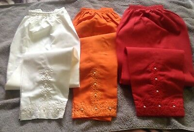 Ladies Latest Stylist   Cotton Embroidered Fancy pearls elasticated trousers