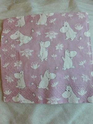 4 Lunch Paper Napkins for Decoupage Party Table Vintage Moomins Trolls Pink