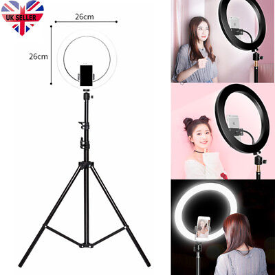 "10"" LED Ring Light with Stand Dimmable Lighting Kit For Makeup Youtube Live UK"