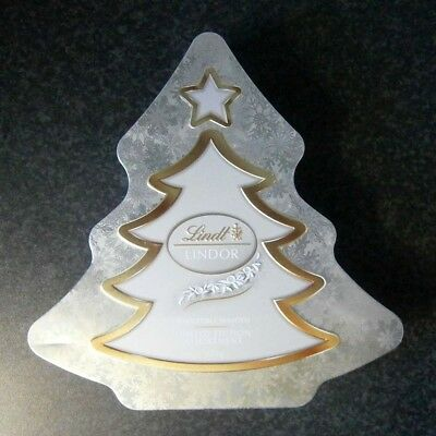 Collectable Lindt Lindor Embossed Silver Christmas Tree Chocolate Tin