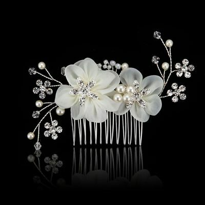 Wedding Party Pearl Hair Comb Head Clip Bridal Headpiece Crystal Headband