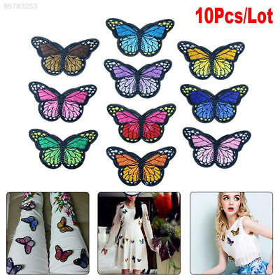 B54D 10pcs Butterfly Patch Patches Embroidery Sew Iron On Embroidered Applique