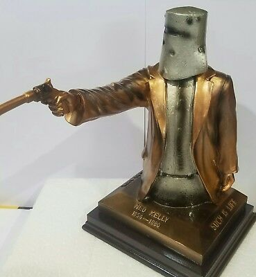 Ned Kelly Statue Bail up 25cm Tall. Copper & Silver Colour. Free Postage