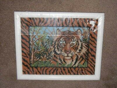 Framed Needle Treasures Needlepoint JUNGLE TIGER African Cat - 12x15 JCA New