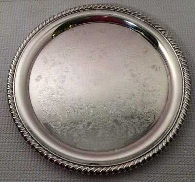 """Vintage William Rogers 870 Silverplate Serving Tray, 10 1/4"""" Round"""