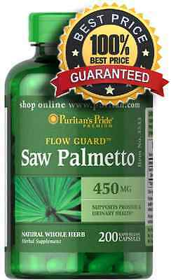 Saw Palmetto 450 mg x 200 Capsules Puritan Pride FREE POSTAGE **AMAZING PRICE**