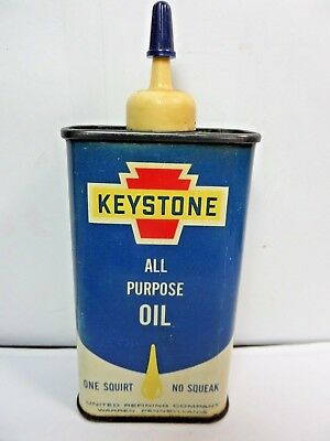 VINTAGE 1950-60's KEYSTONE ALL PURPOSE OIL TIN CAN HANDY OILER PLASTIC TOP 4oz.