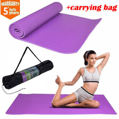 Yoga Mat 6mm Thick PVC Exercise Pilates Mat Gym Fitness Workout Pad w/ Bag USA