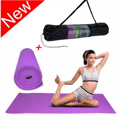 Yoga Mat 6mm Thick PVC Exercise Pilates Mat Gym Fitness Workout Pad w/ Bag NEW