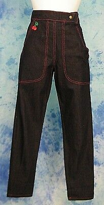 STOP STARiNG EMBROiDERED CHERRY HiGH WAiST SAiLOR NAUTiCAL ROCKABiLLY JEANS 30/w