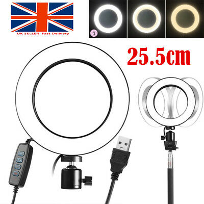 LED 3 Modes 40W 5500K Dimmable Studio Camera Ring Light Photo Phone Video 25.5cm